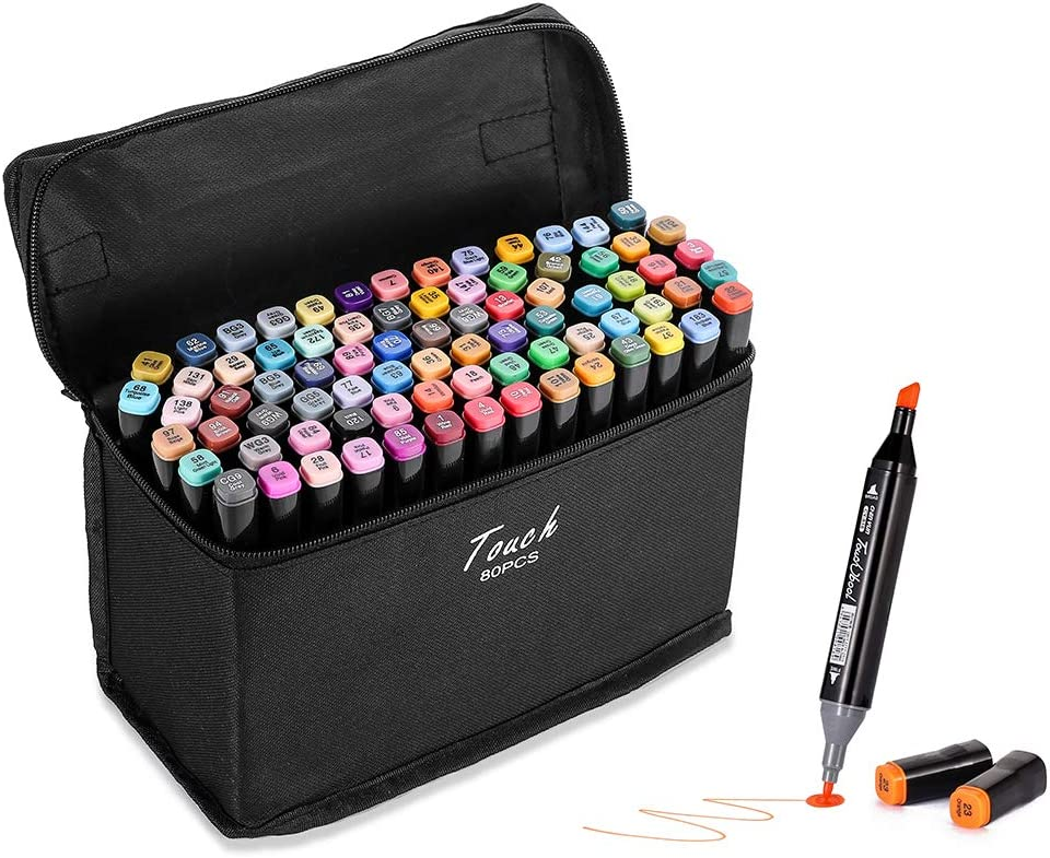 80 Colors Alcohol Markers Dual Tips Marker Pens Permanent Sketch Markers Set for Kids and Adult Coloring Painting Manga Design