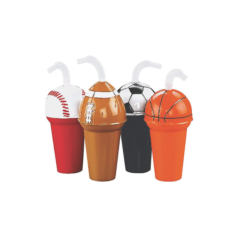 Fun Express Sports Ball Cup Assortment (Set of 12) Baseball, Football, Soccer Ball and Basketball Designs by Fun Express