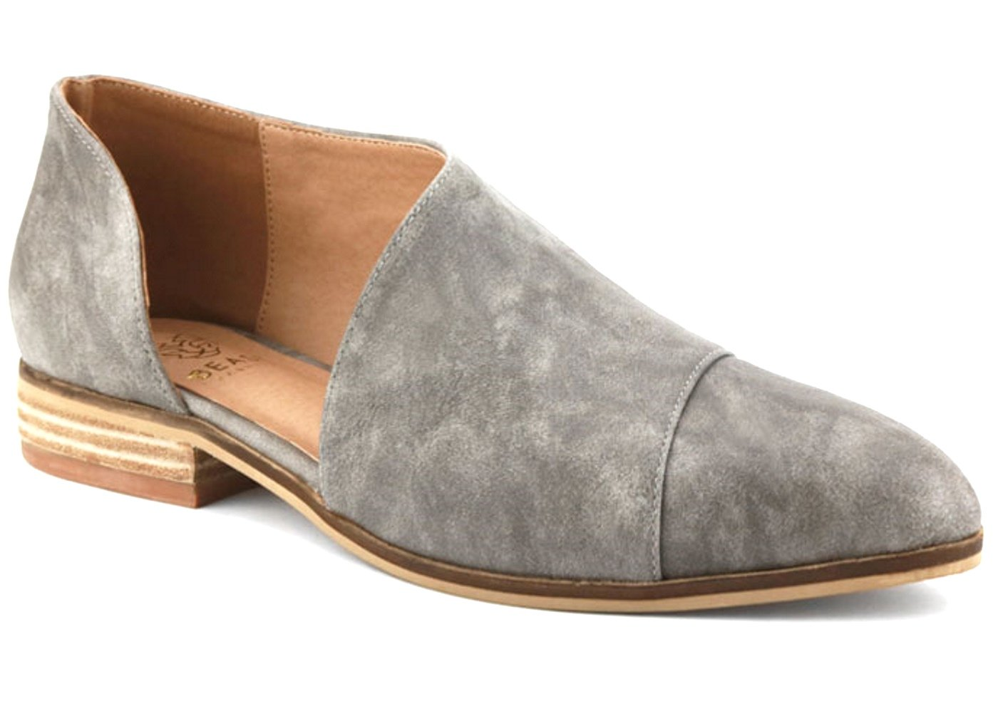 Beast Fashion Carter-05 Women D'Orsay Slip On Pointy Cap Toe Extreme Cut Out Ankle Flat Bootie Grey (7)