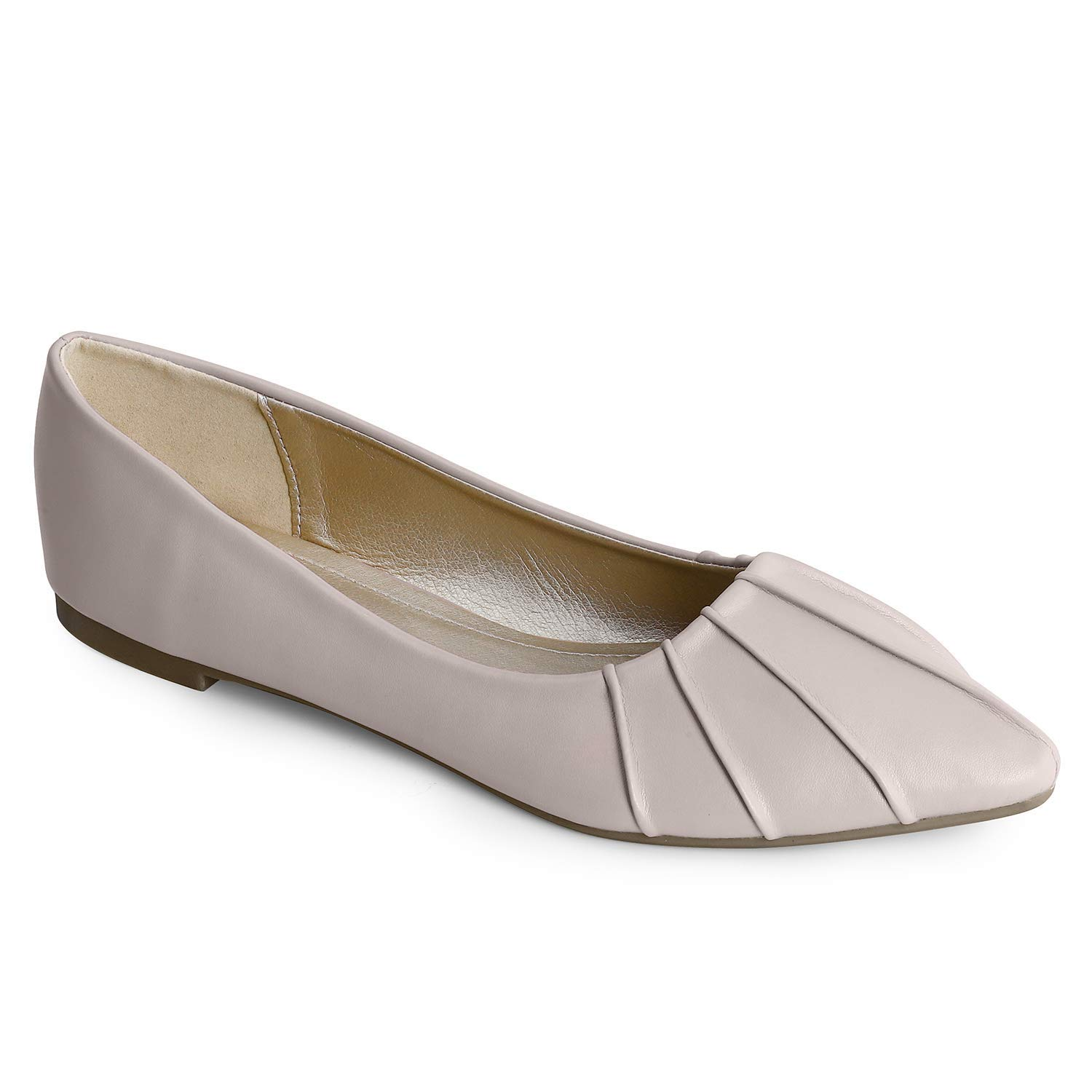 Trary Womens Pointed Toe and Bow Slip on Ballet Flat Shoes