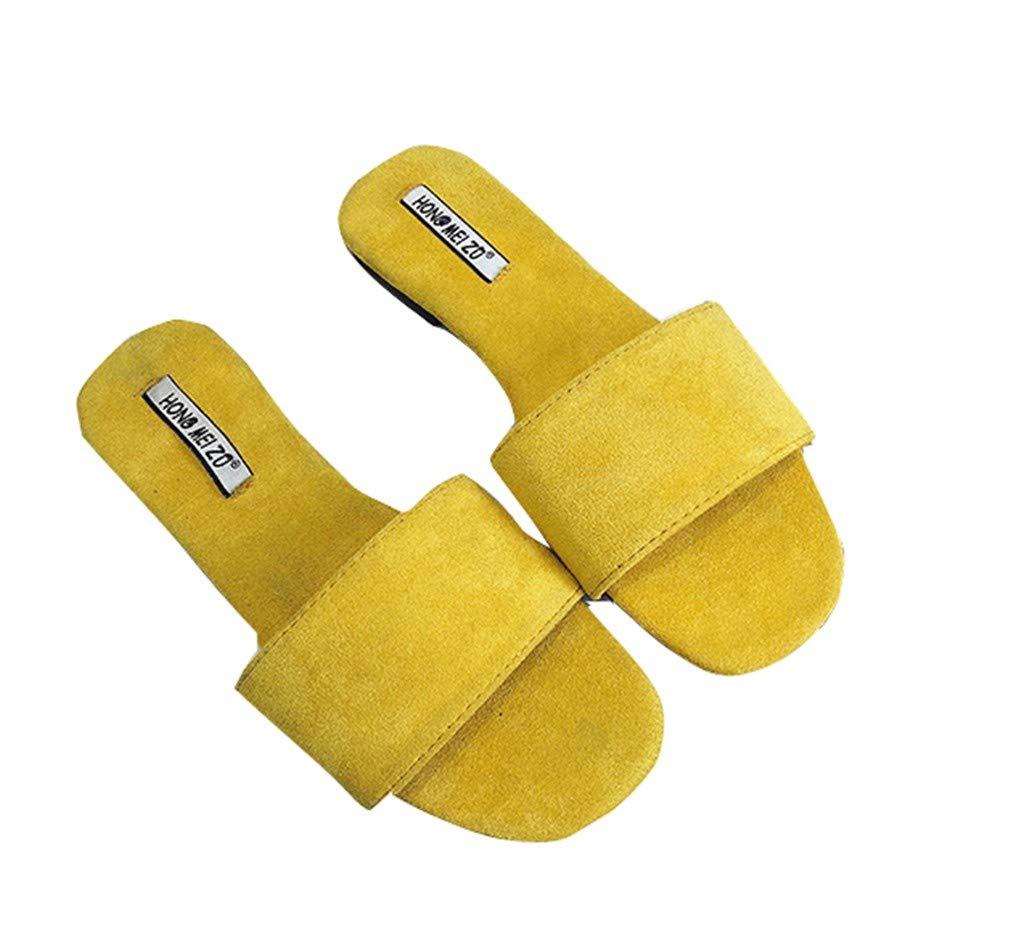YUCH B07D9TXYPY Pantoufles Femme Pantoufles 19415 Surface Frosted Toe Flat Toe Confortable Couleurs Yellow 9745bfc - piero.space