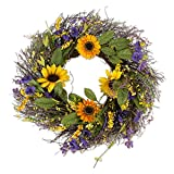 """pictures of front doors DII Decorative Sunflower 22"""" Summer Wreath for Front Door or Indoor Wall Décor to Celebrate Spring & Summer Season"""