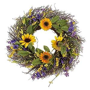 DII Decorative Seasonal Wreath Spring/Summer, Front Door or Indoor Wall Décor, 22″Diameter, Sunflower