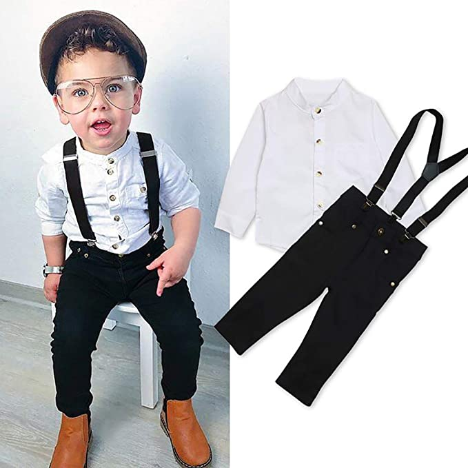 Baby Toddler Boy Formal Event Suit Cake Smash Outfits Shirt Suspender Pants Wedding Birthday Pageant First