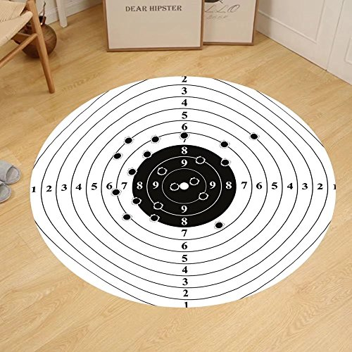 Gzhihine Custom round floor mat Black and White Target Numbers and Bullet Holes Shooting Polygon Gun Training Bedroom Living Room Dorm Black - Ma Reading Target