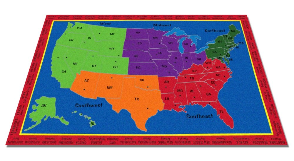 Kid Carpet The United States Of America Rug, 7'6'' x 12' by Kid Carpet