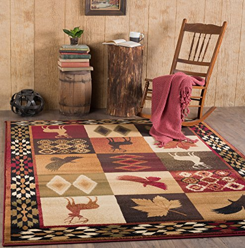 Universal Rugs Lodge Novelty 5 Ft. 3 In. X 7 Ft. 3 In. Area Rug , Multi