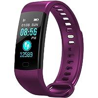 BANAA Orologio Smart Sport Watch Monitor Frequenza Cardiaca Pressione Sanguigna Orologio Multifunzione Fitness Tracker Orologio Watch Chiamata A Breve Termine Bluetooth Touch (Viola)