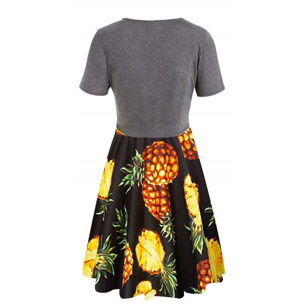 Womens Sunflower Short Sleeve Midi Dresses Bow Tie Front Bandage Suit Summer Casual Cardigan Tops Straps Mini Tshirt Dress Loose Swing Flowy Pleated Floral Sun Dress