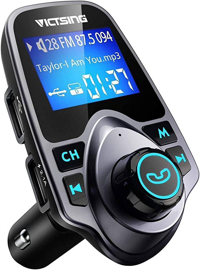 Upgraded Version V4.1 Wireless Hands Free Car Kit Black VicTsing FM Transmitter Bluetooth Radio Transmitter Car Adapter with Aux Output Input Car Battery Voltage Display Audio Receiver Adapter Dual USB Ports