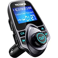 VicTsing FM Transmitter, Bluetooth FM Transmitter Radio Adapter Car Kit with 5V 2.1A USB Car Charger MP3 Player Support TF Card USB Flash Drive, Aux Output and Input - Grey
