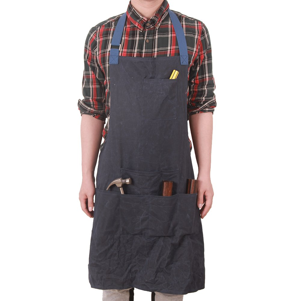 Waxed Canvas Heavy Duty Work Apron Utility Tool Shop Apron Multi-function Waterproof Bib Apron with Pockets In Front For Unisex Men & Women HSW-067