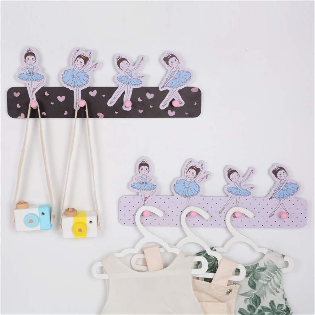 Kindergarderobe mit 4 Haken,Wandgarderobe,Garderobenhaken Kinderzimmer, Tanzende M/ädchen Schwarz Kleiderhaken Wandhaken