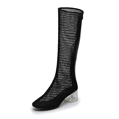 CHNHIRA Damen Sommer Mesh Kristall Hoch Stiefel(EU 35, Weiß)