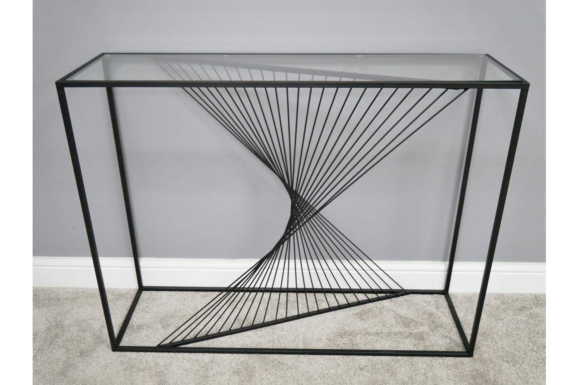 DOWNTON INTERIORS Modern Black Twisted Metal Glass Geometric Side Console Table ** Full Range of Matching Furniture is Available ** D6493