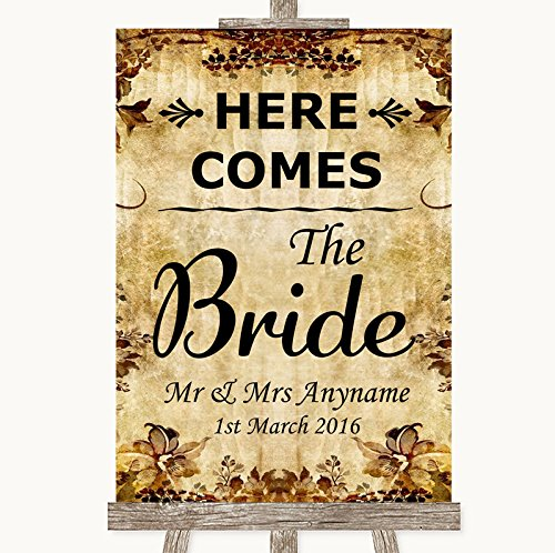 Autumn Vintage Here Comes Bride Aisle Sign Personalized Wedding Sign