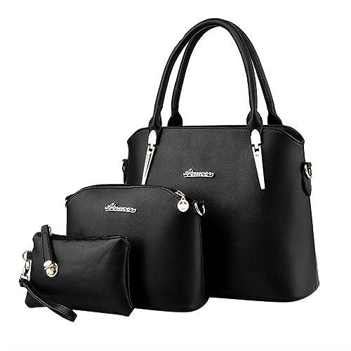 ADOO Women's Elegant Leather Handbags Shoulder Bags Tote Bags Hobo Set