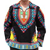 RaanPahMuang Brand European Poets Collar Long Sleeve Shirt African Dashiki Art, Medium, Multi Black Red