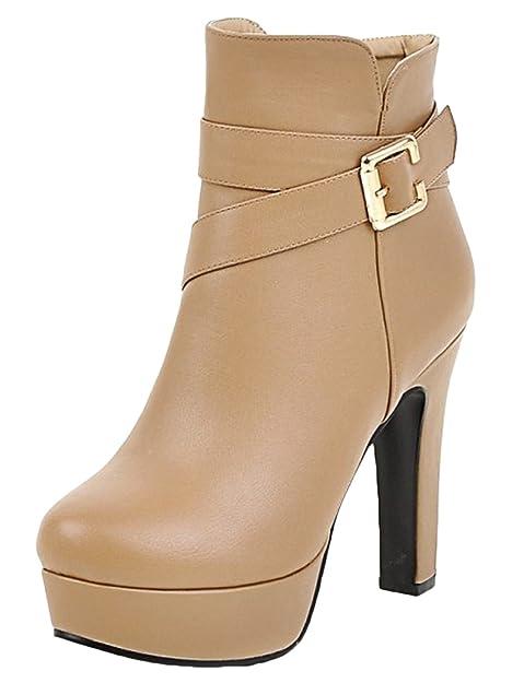 Scothen Botas de trabajador de mujer Zapato color sólido Tacones altos Botines con hebilla Zapatos de