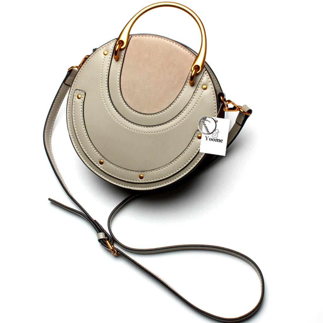 Yoome Elegant Rivet Bag Punk Purse Circular Ring Handle Handbags Cowhide Crossbody Bags For Women - Grey