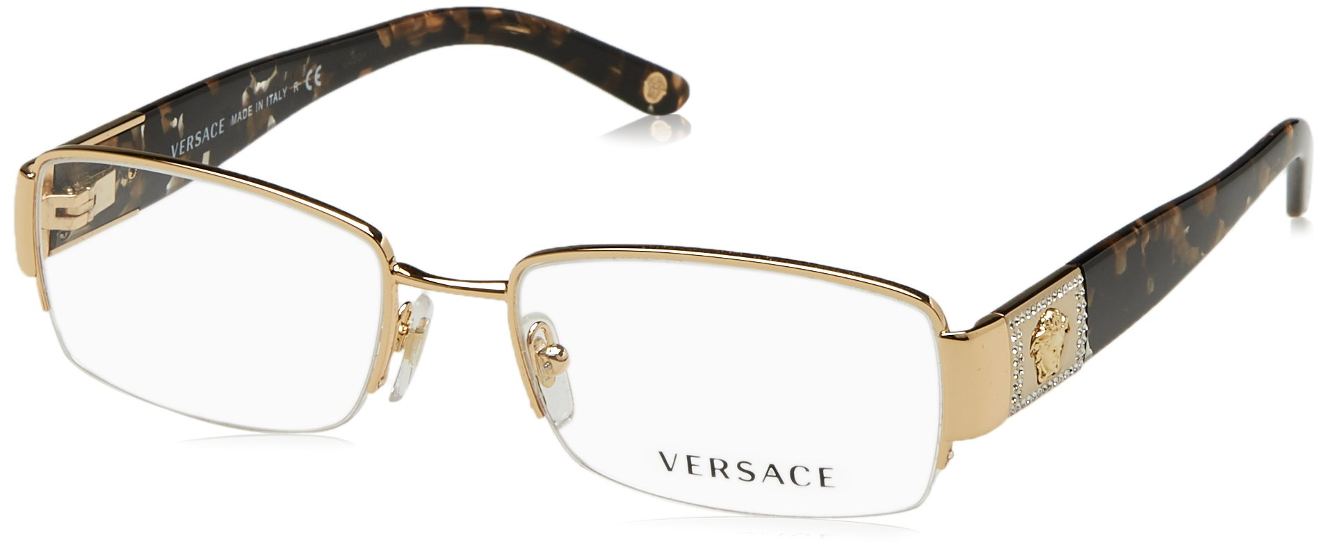 Versace VE 1175B Eyeglasses w/ Gold Frame and Non-Rx 51 mm Diameter Lenses, VE1175B-1002-51