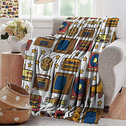 - Luxury Flannel Fleece Blanket,90S Decorations,90S Theme With Old Style Recorder Stereo Television Roller Skate Shoes Electronic Watch,Mustard,All Season Light Weight Living Room/Bedroom 50