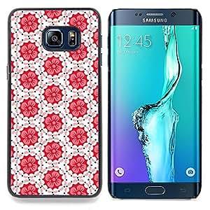 Stuss Case / Funda Carcasa protectora - Patrón Azulejos Blanco Rojo Peach - Samsung Galaxy S6 Edge Plus / S6 Edge+ G928