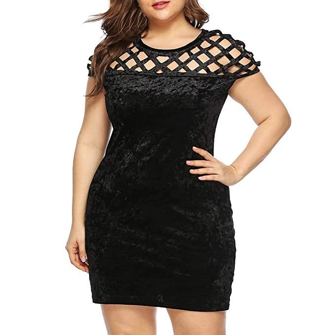 Irene Womens\'s Black Party Dress Plus Size Casual O Neck Short ...