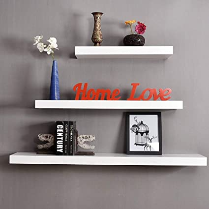 Juego de 3 estantes flotantes de diferentes tamaños, color blanco flotantes para montar en la pared, estantes de exhibición, estante flotante de ...