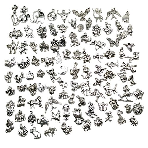 Bracelet Charm Animal - Pack of 100 Mixed DIY Antique Animal Themes Pendants Charms for Crafting,Bracelet Necklace Jewelry Findings Jewelry Making Accessory