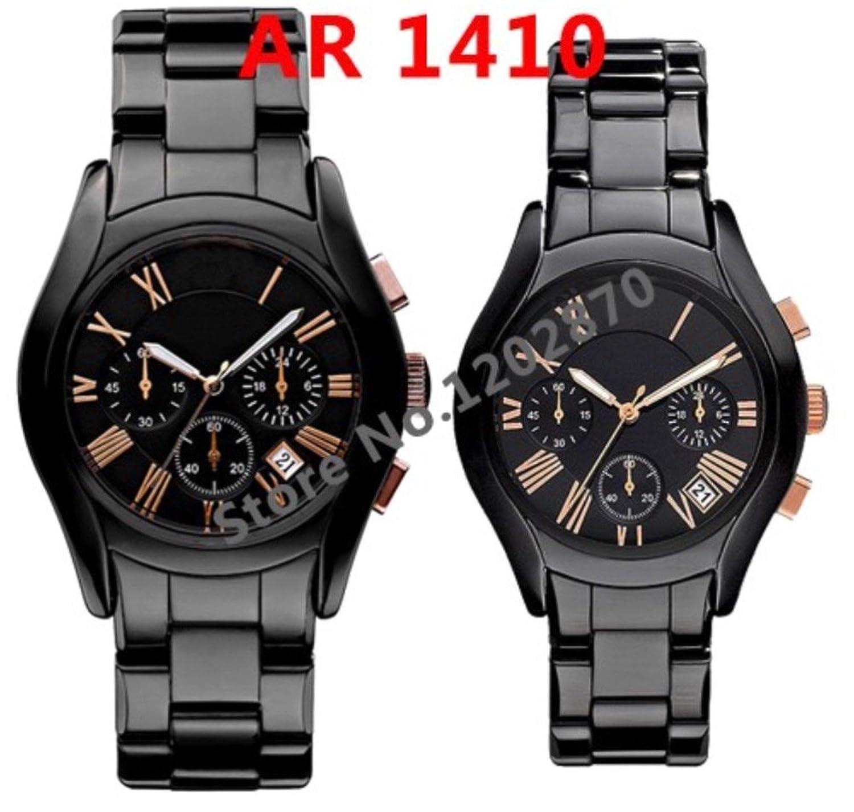 New AR 1410 1400 AR1410 Ar1400 schwarz gold Keramik Chronograph Herren Armbanduhr mit Original Box