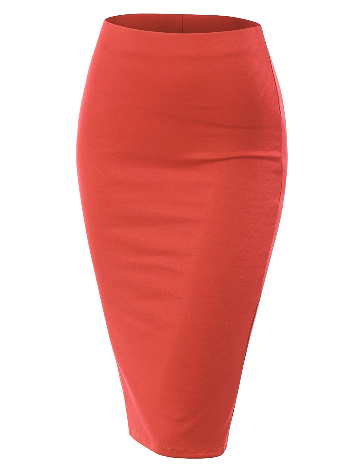 5c6ca6951 Online Cheap wholesale Doublju Stretch Knit Midi Pencil Skirt with Back Slit  for Women with Plus Size Skirts Suppliers