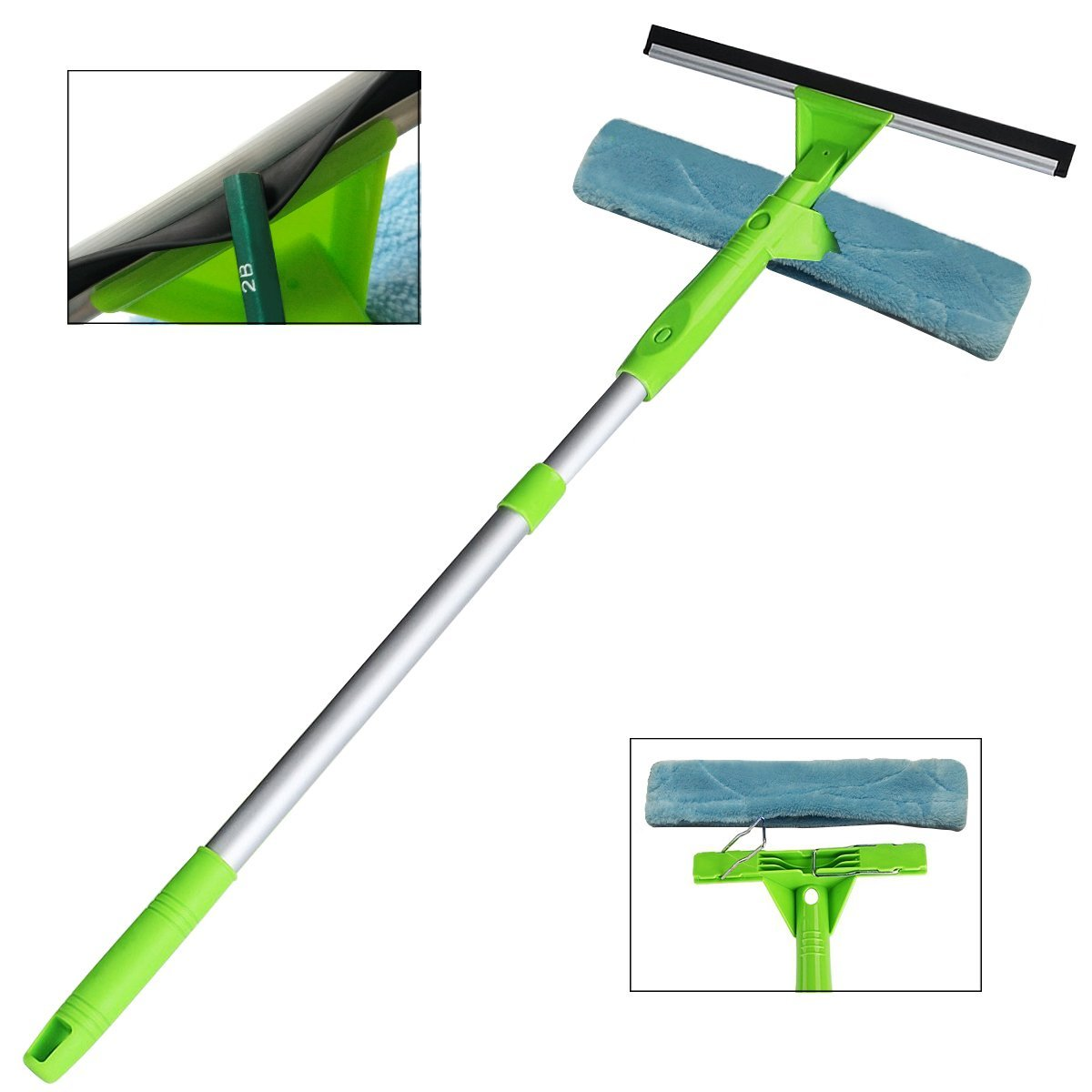 ITTAHO Window Squeegee Cleaner 3 in 1 Kit, Detachable Microfiber Pad and Squeegee Scrubber Can Used Separately with Aluminum Alloy Extension Pole