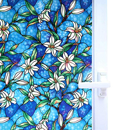 Bloss Window Film for Windows 17.7 by 78.7 Inch Static Cling Orchid Privacy Stained Glass Decorative Window Film, 1 Roll
