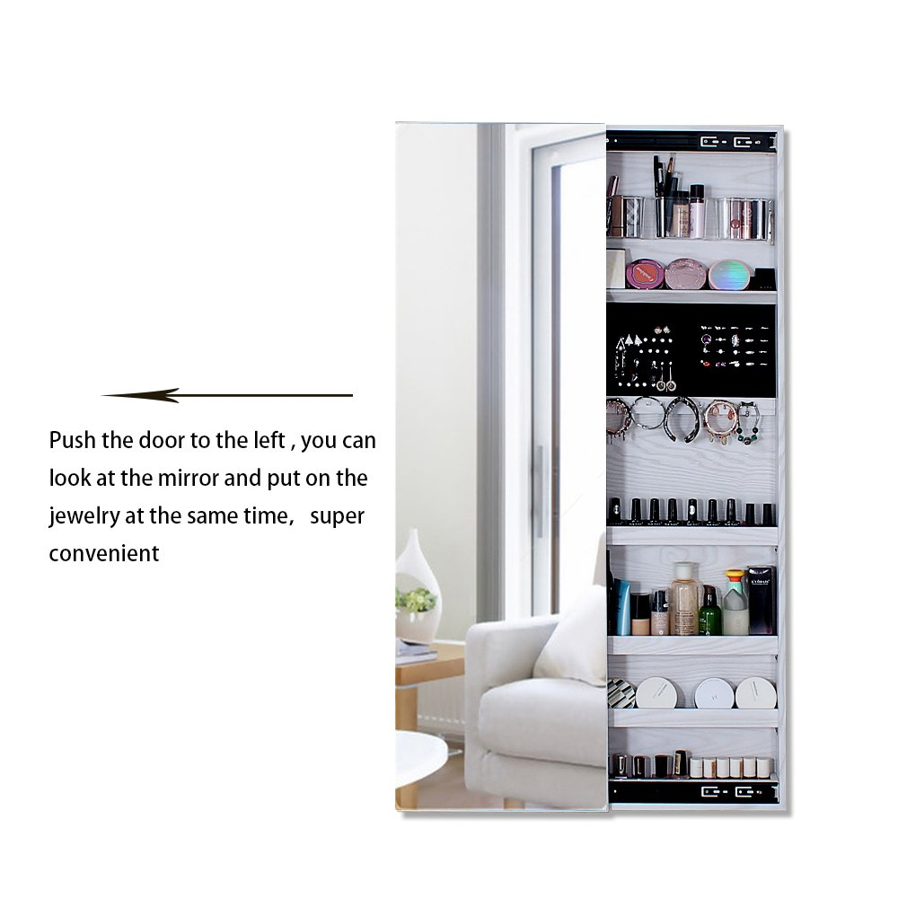 NEX Door Wall Mounted Jewelry Armoire Makeup Storage Organizer with Real Glass Mirror - White by NEX (Image #5)