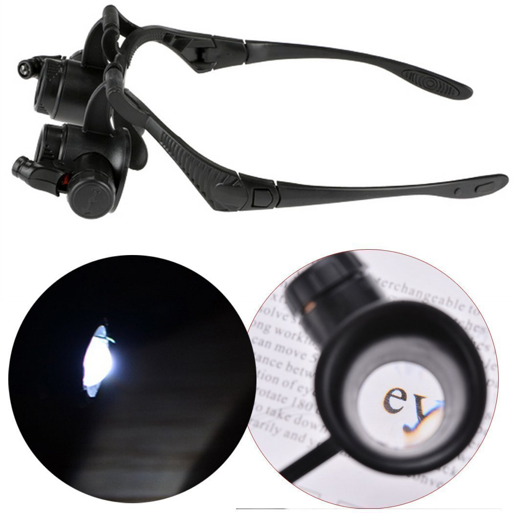 Fashine Illuminated Double Eye Magnifier, 10 X 15X 20 X 25X LED Head Magnifier Loupe Magnifying Glasses Tool Set for Watch Jewelry Repair Miniature Engraving Magnification