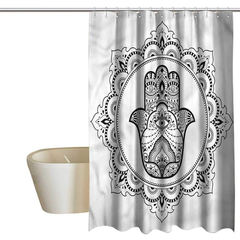 Denruny Shower Curtains for Bathroom with Rosebuds Hamsa,Mehndi Mandala Oriental,W108 x L72,Shower Curtain for Kids