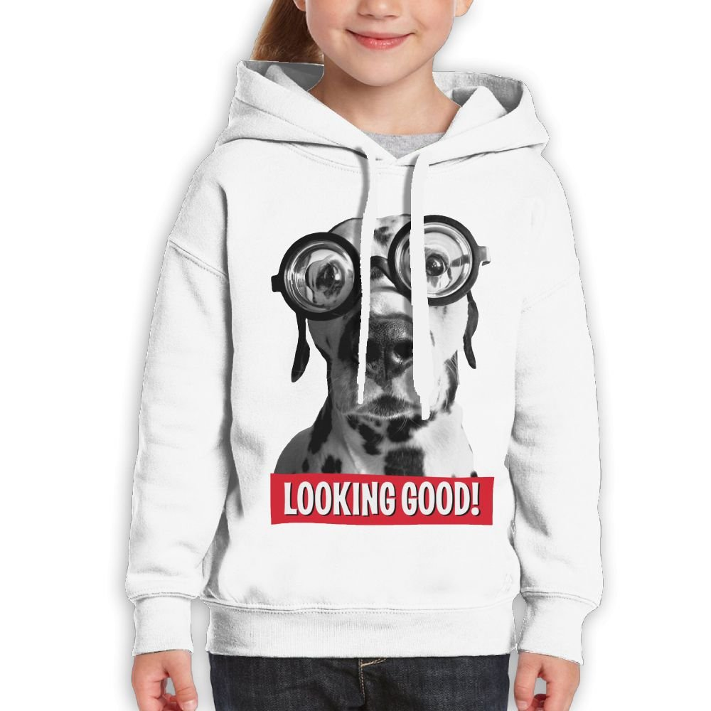 Vintopia Boys Funny Dalmatian Dog Wears Thick Glasses Casual Style Sports White Hoody XL