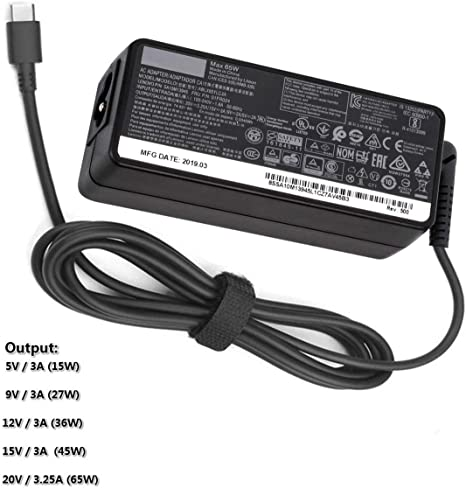 New 65W USB C Charger for Lenovo, Type C Laptop Power Adapter Supply, for Lenovo Yoga C930, S730, 920, 730, ThinkPad X1 Carbon 5th, 6th, ThinkPad ...