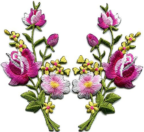 - Pink roses pair flowers floral bouquet boho embroidered appliques iron-ons patches new
