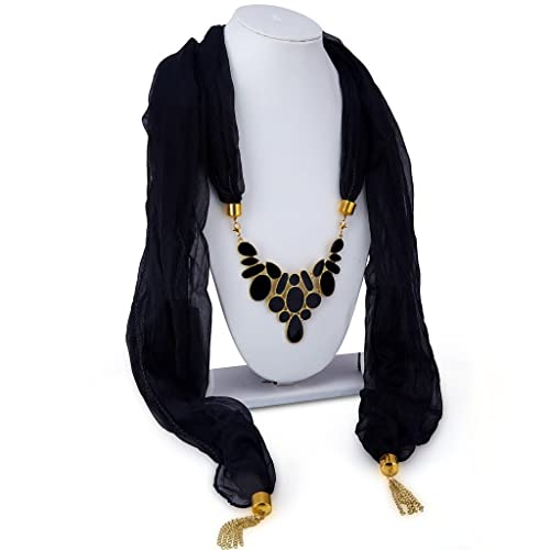 Long Mala Necklace for Women (Black)