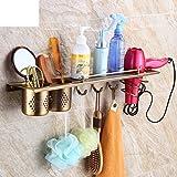 Hair Dryer Holder,Hair Dryer Shelf,Hair Blow Dryer Holder, Copper antique hair dryer rack European-style bathroom shelves wall hanging shower room incorporating wind-D