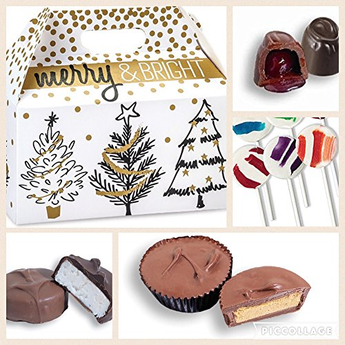 Diabetic Candy Sugar Free Merry and Bright Christmas Gift basket with chocolate and candy
