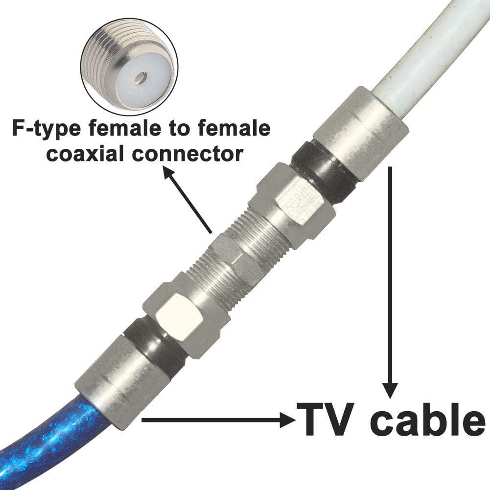 BOOBRIE F-Typ Kabel-Buchse-Stecker RG6-Anschluss F Buchse zu F Buchse Adapter Buchse zu Buchse Antennenanschluss Verlustarmer TV-Kabelanschluss Adapter vom Typ F f/ür TV-Antenne vernickelt 5 St/ück