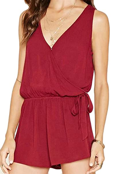 8ca648e902e3 Cromoncent Womens Casual Sleeveless V Neck Belt Chiffon Short Jumpsuits  Claret S