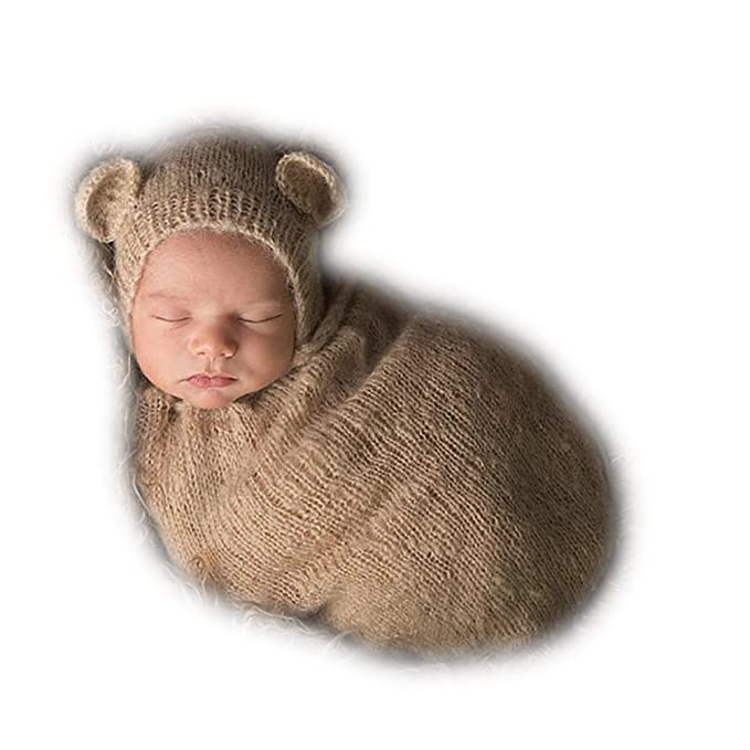 1bcf0d5d5 Amazon.com: Auberllus Handmade Infant Newborn Baby Girl Boy Crochet Knit  Sleeping Bag Hat Photography Props Outfits Costume (Khaki): Clothing