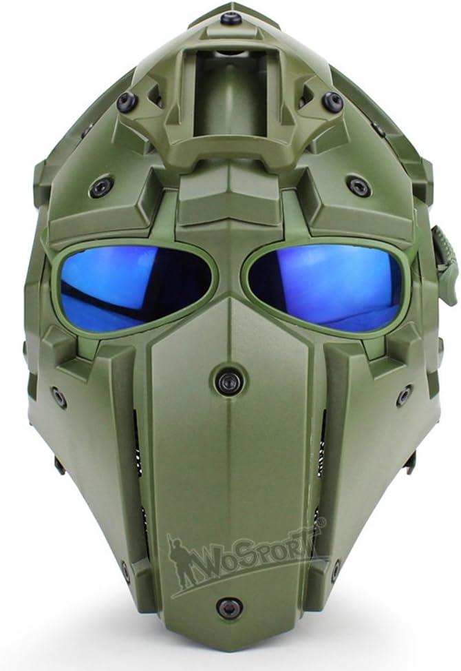 Will Outdoor Casco táctico de Cara Completa con Gafas para Airsoft, Paintball, CS Juegos, Motocicleta, Accesorios de película
