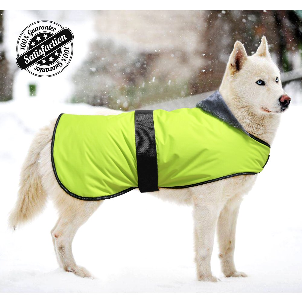 Bseen Dog Jacket Waterproof Soft Cotton Blanket Coat Winter Clothes for Large Dogs with Adjustable Magic Buckle to Fit Your Pet Dog (L)