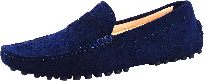 Santimon Classic Scarpe da Uomo Mocassini Slip On Penny Loafers Pelle Scarpe da Guida 37-49 Blu Scuro