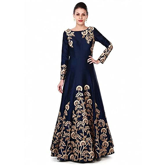 04bedc1f2ee Ethnic Empire Women's Taffeta Silk Semi Stitched Anarkali Salwar Suits  (Eed-Ea10756_Blue_Free Size): Amazon.in: Clothing & Accessories